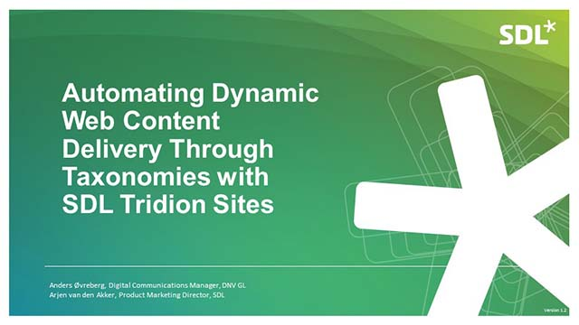 Automating Dynamic Web Content Delivery via Taxonomies with SDL Tridion Sites
