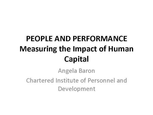 People and Performance – Measuring the Impact of Human Capital