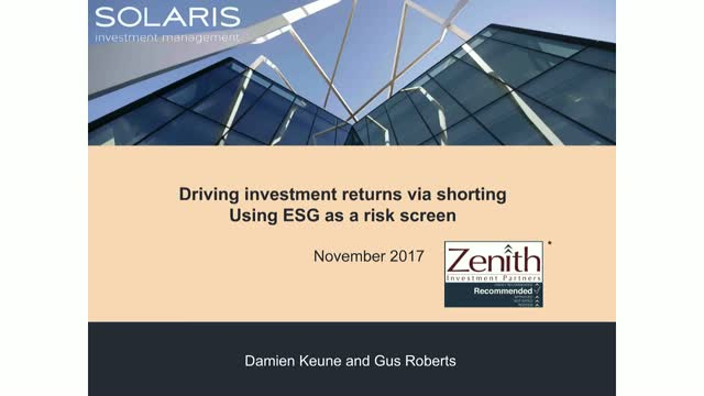 Driving investment returns via shorting: Using ESG as a risk screen