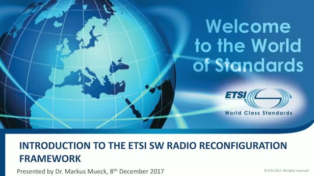 Introduction to ETSI Software Radio Reconfiguration Standards