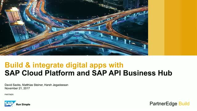 Build & integrate digital apps with SAP Cloud Platform & SAP API Business Hub