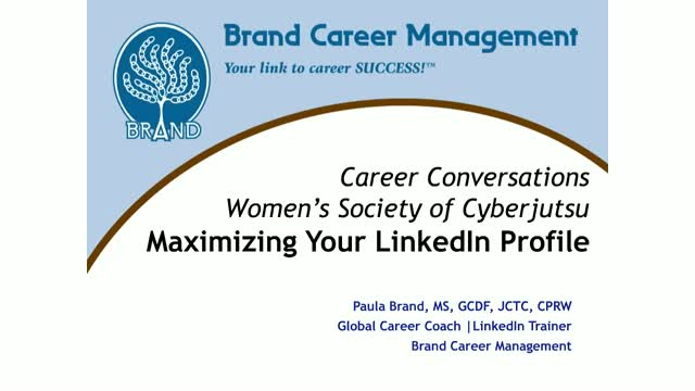 Career Conversations w/ Paula Brand  - Maximize Your Linked Profile