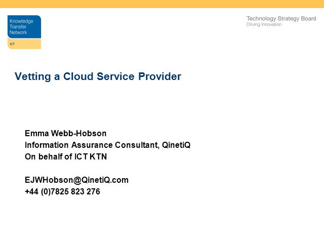 Vetting a Cloud Service Provider