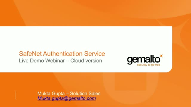 SafeNet Authentication Service Live Product Demo