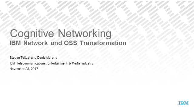 Cognitive Networking in a World of NFV/SDN