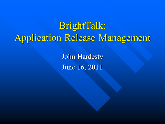 Release Management in a New Application Environment