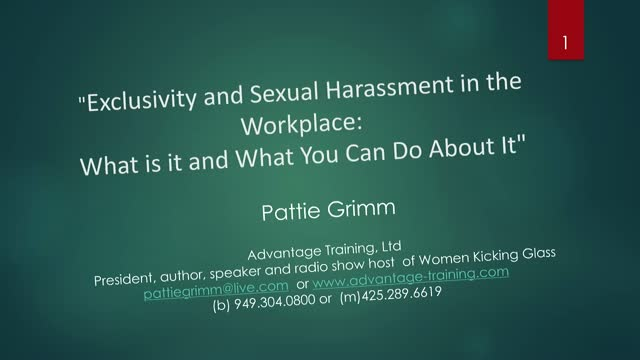 Exclusivity & Sexual Harassment in the Workplace: What You Can Do About It