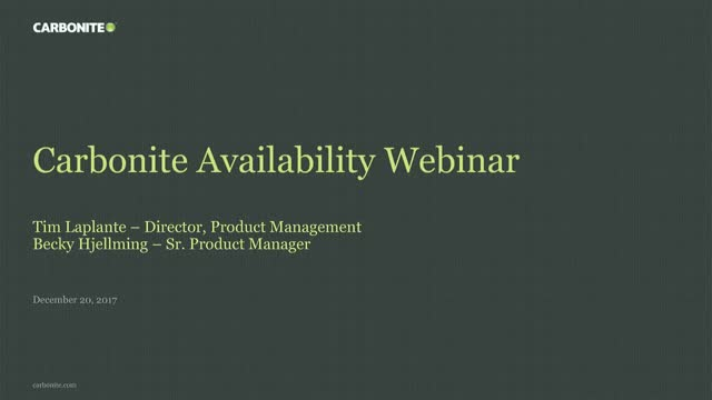 Seeing is Believing: Carbonite Availability in Action