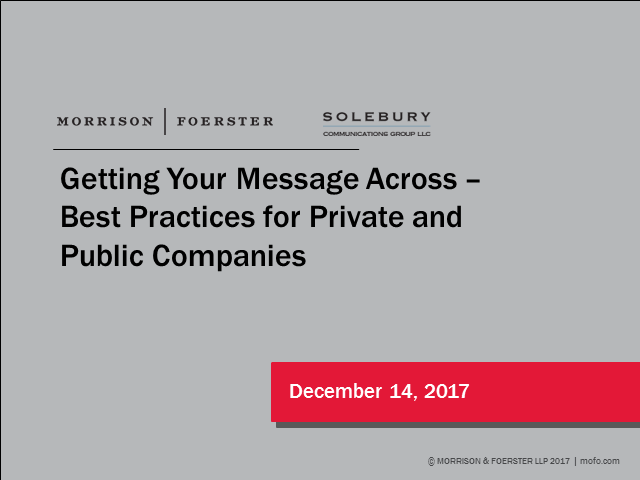 Getting Your Message Across:  Best Practice for Private and Public Companies
