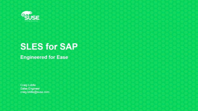 SUSE for SAP Applications - Engineered from the ground up for Ease of Install