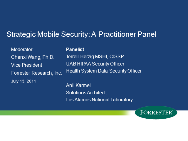 Strategic Mobile Security: A Practitioner Panel