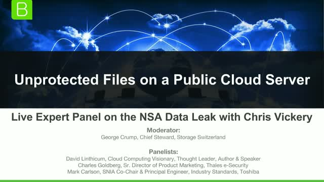 Unprotected Files on a Public Cloud Server: Live Panel on the NSA Data Leak