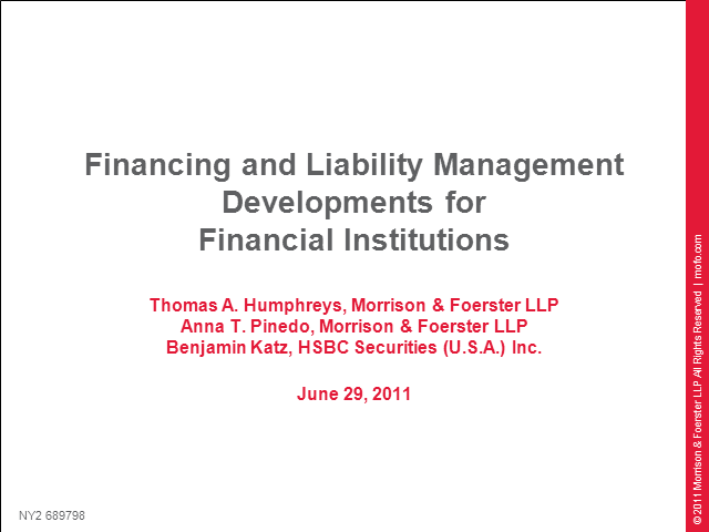 Financing and liability management developments