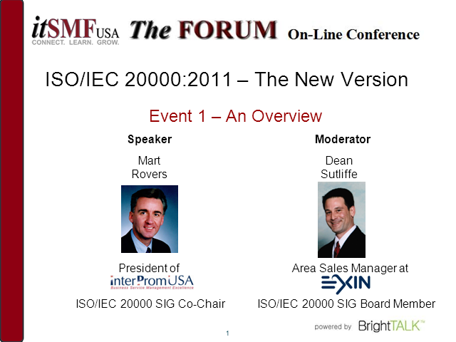 ISO/IEC 20000:2011 – The new version: An Overview