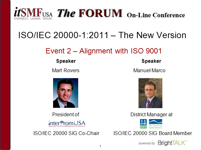 ISO/IEC 20000:2011 – The new version: Alignment with ISO 9001