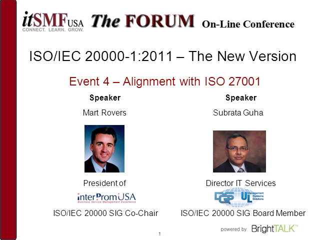 ISO/IEC 20000:2011–The new version: Alignment with ISO/IIEC 27001