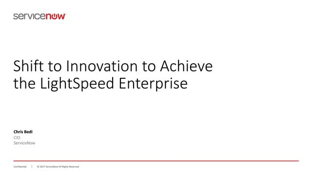 Shift to Innovation to Achieve the Lightspeed Enterprise