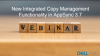 New in Integrated Copy Management Functionality in AppSync 3.7