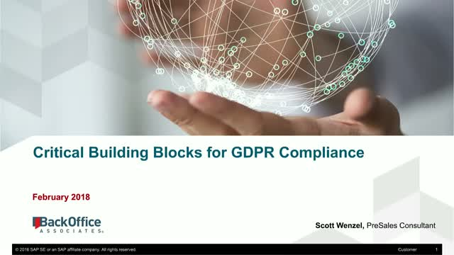 Critical Building Blocks for GDPR Compliance