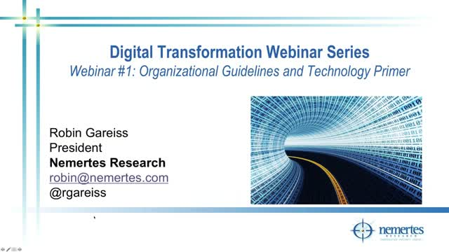 Digital Transformation Organizational Guidelines and Technology Primer - Part 1