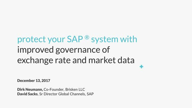Protect your SAP system with improved governance of exchange rate & market data