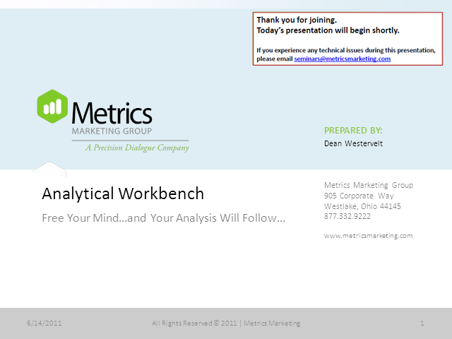 Analytic Workbench: The Tools for Modeling Success
