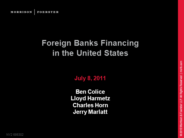 Foreign bank financing in the US