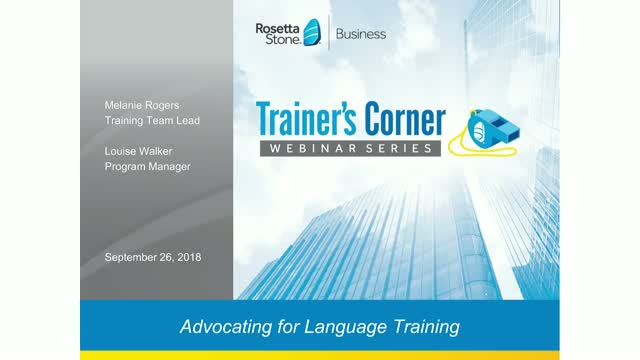 Trainer's Corner #5: Advocating for Language Training