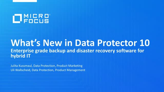 What's New in Data Protector 10