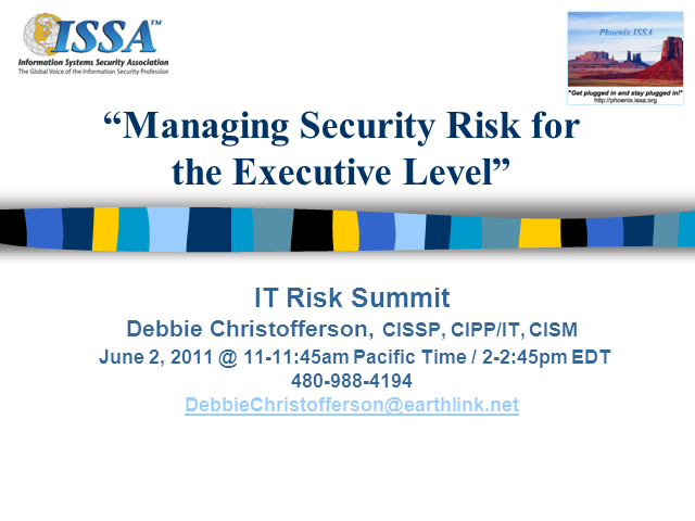 Managing Security Risk for the Executive Level