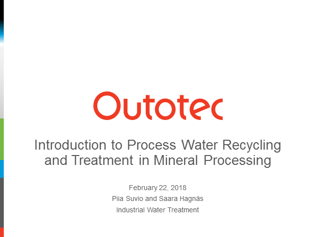 Introduction to Process Water Recycling and Treatment in Mineral Processing