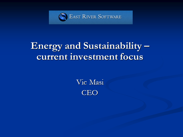 Green IT Week - How investment &funds flow in the energy industry