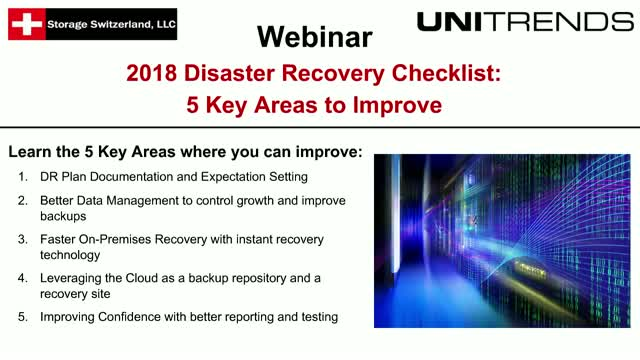 2018 Disaster Recovery Checklist - 5 Key Areas to Improve