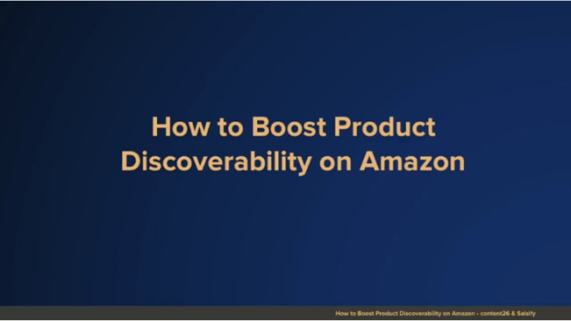 Boosting Product Discoverability on Amazon