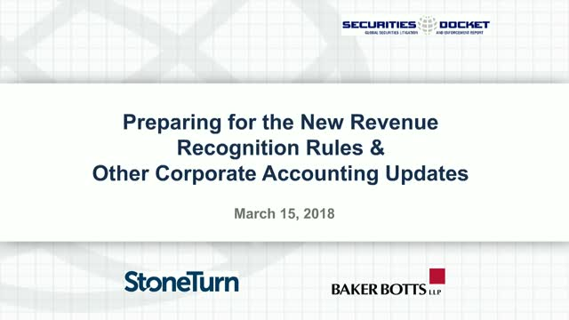 Preparing for the New Revenue Recognition Rules & Other Corp. Accounting Updates