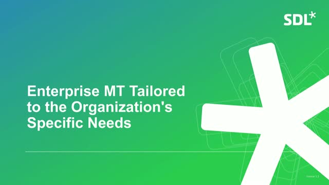 Enterprise MT: Tailored to the Organization's Specific Needs
