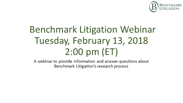 2019 Benchmark Litigation Webinar - Your Research Questions Answered