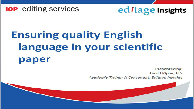 Ensuring quality English language in your scientific paper