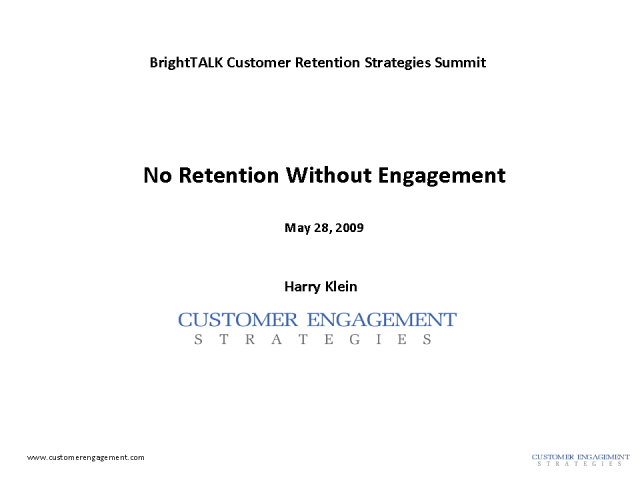 No retention without engagement