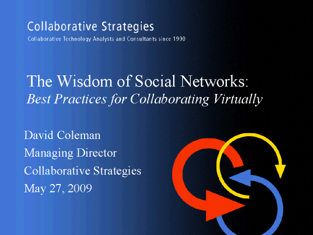 The Wisdom of Social Networks: How to collaborate virtually