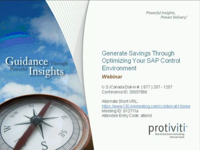 Generate Savings through Optimizing your SAP Control Environment