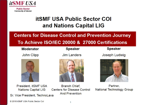 Centers for Disease Control Journey to ISO20K & ISO27K Certifications