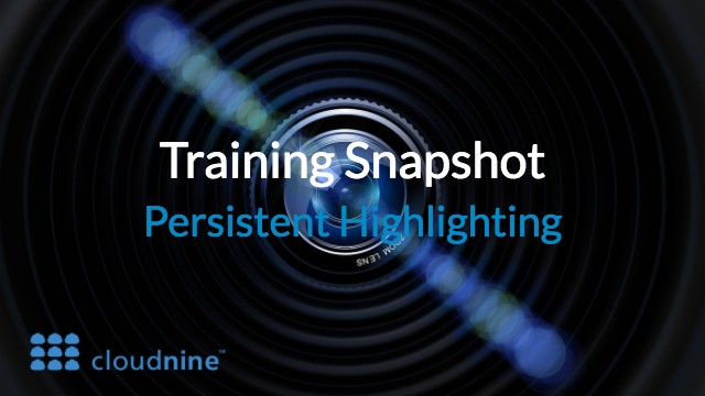 Training Snapshot: Persistent Highlighting from CloudNine