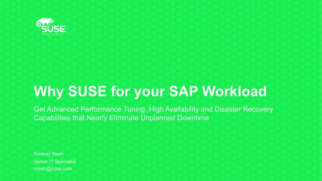 Why SUSE for your SAP Workloads?