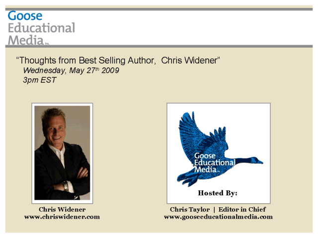 Thoughts from Best-selling Author, Chris Widener