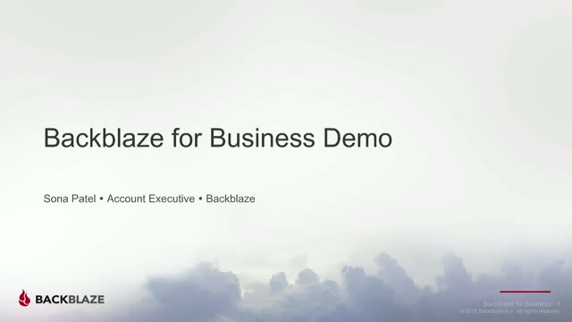 Backblaze for Business Demo