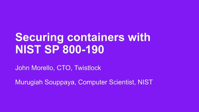Securing Containers w/ NIST SP 800-190