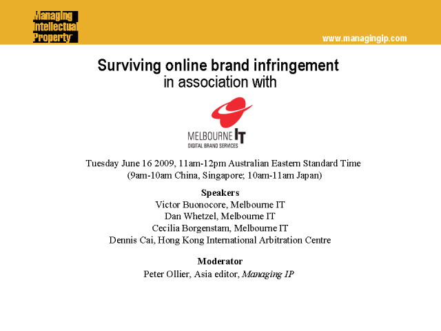 Surviving online brand infringement