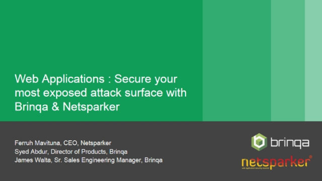Web Applications: Secure Your Most Exposed Attack Surface w/ Brinqa & Netsparker