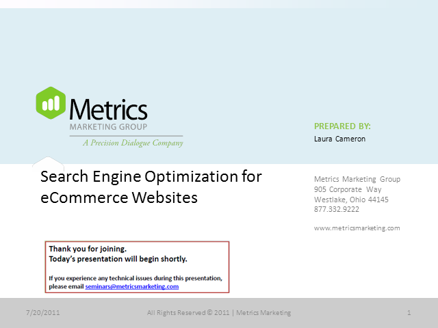 Search Engine Optimization for eCommerce Websites